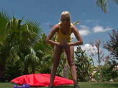 See this blonde hottie as this babe works out her hot body. After a small in number exercises this babe takes off her clothes and discloses that hot body, this hottie has lengthy hot legs, a cute ass, small hot bra buddies and lengthy glamorous legs. This honey is showing us what this babe has and makes our cocks hard.