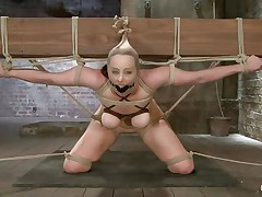 This babe indeed under the pressure! Bella is bound on that large wooden beam, ball gagged and with her love muffins squeezed. Her mistress plays with these love muffins and then goes behind her to play with her ass too. That booty is round and hot and a large sex-toy inside it makes it look even better. How lengthy will it be until that babe squirts?