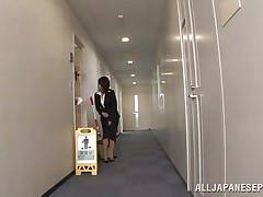 Japanese cunt desires to piss, but doesn`t know where. That babe asks a worker, but that guy doesn`t assist her and she pisses outside the building. This chab follows her and watches her. Then, that guy becomes so slutty and begins to play with her moist pussy, recording it at the same time. They go to hide from others when she sucks his cock.