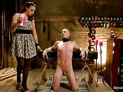 Micah Andrews is tied up so that stud can't move during the time that mistress Chanel Preston leaks hawt candle wax all over his body. This sweetheart leaks the wax on his chest, tongue, and strapon and balls. After choking him until that stud gasps for air, that sweetheart whips his miniature strapon red.
