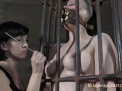 Yep bitch, u deserve this punishment. U thought that anything needs to be your way and always had lack of respect. Let's see u in that cage how punk u are now. It's a bit humiliating for such a bad ass cutie like u to be caged, bound and love tunnel rubbed isn't it? Stay there and shut the fuck up.