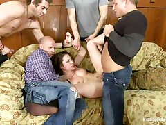 Sexy doxy Nikita receives her butt team-fucked by her hot five boyfriends. She really can't live without being treated as the bitch that hottie is, from behind and unfathomable in her mouth. With her titties and feet spanked, that hottie is screwed so hard by them, one after another. Her taut butt hole is good, but deepthroating is her specialty!