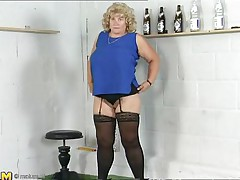 This older blonde lady is bored and and this hottie is in the mood for some sexy-time. This babe ask herself 'why not playing with my pussy? After all, my fingers gave me the huge orgasms'. That's why you'll watch her fingering like a pro, after all, this hottie has years of experience. Don't miss her worthwhile big love muffins either!