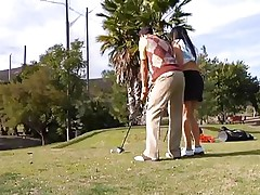 Why educate her how to play golf when this playgirl can play with something that she's already used with. The sexy brunette milf leaves the golf cross and takes this guy's hard rod instead. This playgirl gives him a not many sucks and then goes on top to ride the stud like a fucking whore! See how deep this playgirl takes it while rubbing her clitoris?