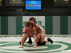 The world of lesbian combat is merciless, here 2 lesbian bitches are fighting for supremacy, wrestling and rubbing their hot bodies until one shows the other that that babe is superior. After winning the match that babe belts on a huge marital-device and takes her prize, the possibility of fucking the loser with her sex toy!