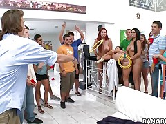 Kelly Divine, Diamond Kitty, and Ashli Orion invade a college dorm for some fun and fucking. Ashli takes a dildo in the wazoo with Diamond holding it for a game of ring toss. The winner receives to take up with the tongue Ashli's brown eye, then receive his salad tossed, receive a blowjob, and fuck a beauty anally for the 1st time.