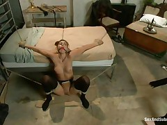Rilyn Rae is a hawt brown haired milf with fine milk shakes and constricted pussy. The milf is bound on a daybed and has a gag in her mouth. She groans with pleasure While Danny strikes her big milk shakes with his leather whip. This stud receives on top of her, removing her gag, and copulates her face roughly making sure this chick receives all the cock this chick needs.