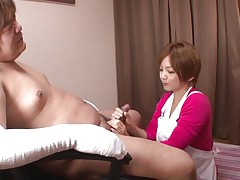 'coz this guy has his hands injured and can't masturbate the sweet nurse Meguru helps him with that problem. She takes off her clothes, remains only in that hawt white bra and panties and then begins to take up with the tongue his dick gently. Meguru wants to satisfy him and acquires a of of cream in return!
