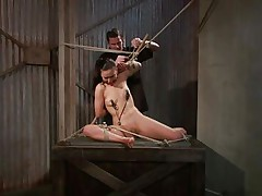 That guy tied her in a very uncomfortable position and used clamps on her nipples. She is ball gagged so that the screaming and moaning won't disturb the executor as he roughly rubs her cunt with a vibrator. The wench stays there and has nothing to do then accept her situation. Curios what else awaits this bitch?