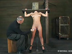 Well this golden-haired blue eyes gal appears to be to have some problems. This babe is secured in a bondage device and kept on her feet with a sex tool inside her womb and an executor that rubs her clitoris. This babe moans and flexes but knows that no thing will stop him playing with her snatch. Does this chab need to use some hardcore tools?
