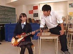 Beautiful schoolgirl Asuka is in the classroom, learning to play the guitar. This slut is greater amount interested in her professor and this guy sees in her a lot of potential but not as a guitar player. She has a lot greater amount talent when it's about a hard pecker and gives him one hell of a hand job previous to bending over in front of him