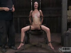 She wanted to to be abused and punished just like a whore that that babe is. Well Hailey got what that babe wanted and now she's bound up on that chair and disgraced. The executor wrote whore on her forehead and opened her face hole with a device. Wonder why? Then stick around and discover out!