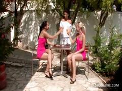 Three lesbo babes have hot romantic action in the garden