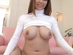 Horny Oriental with large merry whoppers thrills with wet blow job stimulation