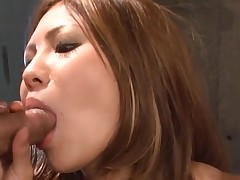 Large milk shakes Oriental gets her constricted fur pie thrashed in hot group-sex