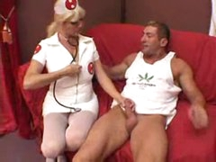 Nurse helps the muscular stud acquire laid