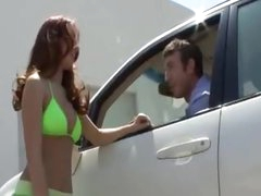 Hottie washes his car in bikini