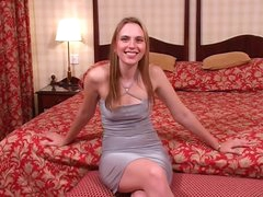 Cute girl in a taut lascivious suit gives head
