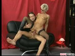 Shorthaired older takes it in the one and the other holes