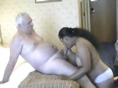 Chunky honey from India grinding on white old man's meaty dick