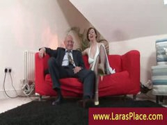 Fashionable lady in stockings undressing and seducing a chap