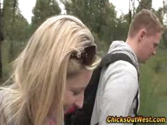 Real non-professional girlfriend outdoor oral