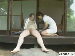 Japanese CFNM countryside dick cleaning service with busty girls