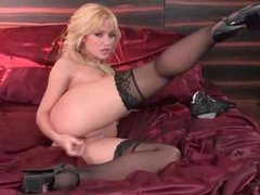 Gorgeous and beautiful blonde toy bonks solo