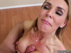 Blistering Tanya Tate receives splattered in wang milk