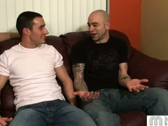 3 homosexual guys talk and begin fondling and kissing