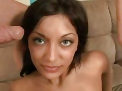 Audrianna Gal receives her face sprayed with warm cum