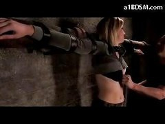 Blonde Gal Tied To Cross Abdomen And A-hole Spanked Bumpers Rubbed In The Dungeon
