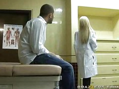 Sexy blonde doctor receives patient jock