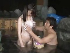 Oriental Angel In Swimsuit Giving Oral In The Washroom