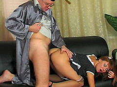 Hawt coed going to the professor to take additional fucking and engulfing lessons