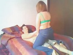 A great clip of a chubby little redhead and her man lieing in daybed making out and teasing every other and finally at the end the sweetheart blows her mans dong