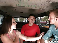 Lets watch this wonderful young lady please these 2 dudes in the bangbus. This sexually excited bitch surely knows how to treat the guys. I bet does this every other day and its not just pure luck for these fellows. They can't await to begin banging her so they help her disrobe off lazily and this hottie accepts.