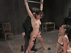 Vai is a hot brown haired milf who enjoys having electrodes all over her body during the time that this sweetheart is bound up with bondage devices. She also has a ball gag in her mouth, because they know this sweetheart is a screamer. She has a large time joy when Princess Donna Dolore takes a sex toy and begins rubbing on that shaved pussy.
