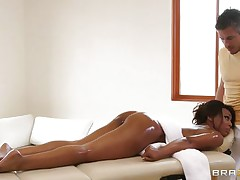 Look at that black hawt playgirl getting horny at an erotic massage. See her lengthy legs, her moist lips and her chocolate skin making that dude begging for some pussy. Are her hawt pantoons and her oiled body plan to bring her some large rod inside her taut twat or some spunk on those moist lips?