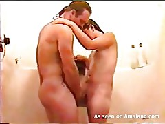 Although we are taking a shower she's still dirty, and I'm talking bout a dirty mind. My wife can't live without when I fuck her like a whore and seeing that hawt juicy body, it's hard not to drill her ribald cleft hard. I take her in my arms, fuck the shit out of her and then give her the old fuck from behind before this babe kneels