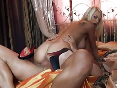 Look at this charming blonde babe with her big tits, her hawt ass and her hawt body getting fucked by that guys giant cock. Look at her breasts bounce during the time that that babe is riding that hard penis and listen to her screaming of pleasure. Is this guy going to cum inside her taut pussy or will this guy fuck her dirty throat