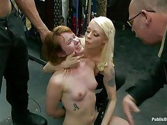 Concupiscent redhead Claire enjoys being humiliated in public. This hottie sits on her knees with a vibrator on her cunt and is waiting for greater amount commands from the people who are watching her. A strong men makes her throat engulf his large hard dick, then puts her on a chair and starts fucking that soaked pussy. Check it out!