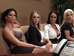 See these four hot babes seducing their boss for a salary raise. See how they're undressing and start touching, giving a kiss and licking every others bobs. Appears to be that the boss is joining the party so they start engulfing his hard cock. Somebody is getting a salary raise!