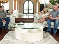 Briana Banks and her husband are offered a man for doing some act in front of a camera, as husband starts taking off his raiment that guy is said that the task have to be performed by professional. The large breasted milf acquiesces with him and likes to be drilled by professional. Her husband doesn't like this and goes out and then they starts their hardcore action. This guy kisses her and then lay down her on the bed and pull off her panties and sucks her cunt.