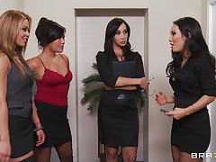 Those four hot women are going to make an offer to their boss her truly can't refuse. Watch how the First one goes and and takes her clothing off and shows her big tits the same like the rest of them. They show him how hard they can work as group engulfing his hard 10-Pounder and making him cum.
