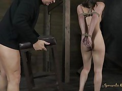 Hot horny Casey on heels has her hands tied up by Matt. That fellow prepares a chair for her and begins dominating her. That fellow puts his hard weenie inside her impure throat and throat bonks her. At the same time, this chab plays with that messy slit of hers with a vibrator. With her head downwards this chab cums on Casey`s nice-looking face. Check out if this floozy cums too!