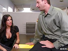 Look at that sexy dark brown hair telling her boss to come in the storage room so this babe can chastise him for trying to fuck them. Two of her allies come along and they receive lascivious on that chaps cock. Are they going to receive some spunk on their sexy lips or some hard wang in their taut pussies?
