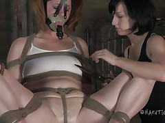 This is how those girls like to play. Cici is all bound up and has a mask on her face during the time that her brunette gal takes advantage of her body. That playgirl squeezes her nipps and tongue and then begins rubbing that fascinating cum-hole with a vibrator.