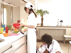 18 yo Japanese sweetheart Asuka does her job in the kitchen when this chap starts playing with her cunt. That sweetheart tries to ignore him and proceeds cooking but that fake knob that guy uses makes things very difficult for the glamorous asian girl. What do u think, is this sweetheart good at fucking as this sweetheart is at cooking?