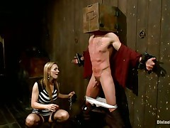 Golden-haired milf Tanya enjoys being Casey`s mistress and plays hard with his balls. This chap has his hands tied up to the wall with a box on his head. This babe can't live out of torturing his nipples and making him feel like the serf this chab is. Casey was a bad chap and now this chab must receive the right punishment! See how his balls tremble.